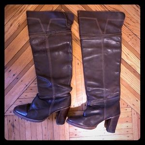Zodiac Vintage Brown Leather Over-Knee Boots